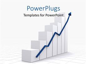 PowerPoint template displaying a growth chart with a growth arrow and place for text