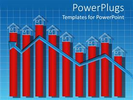 PowerPlugs: PowerPoint template with a growth chart with houses on top of every block