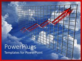 PowerPlugs: PowerPoint template with a growth graph with clouds in the background