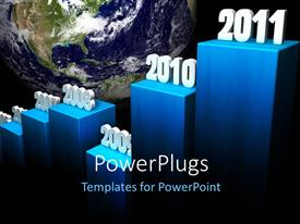 PowerPlugs: PowerPoint template with a growth graph with Earth in the background