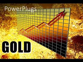 PowerPlugs: PowerPoint template with a growth graph with golden background and place for text