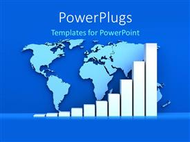 PowerPlugs: PowerPoint template with a growth graph with a map in the background