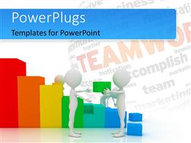 PowerPlugs: PowerPoint template with a growth graph with the word teamwork in the background