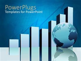 PowerPlugs: PowerPoint template with a growth grpah with a globe with bluish background