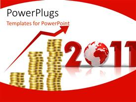 PowerPoint template displaying growth opportunity in 2011, with earth and coins