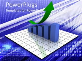 PowerPlugs: PowerPoint template with a growth table with an arrow and digital background