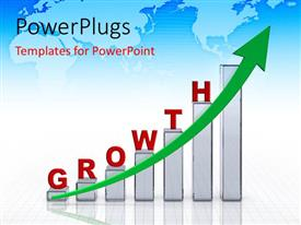 PowerPlugs: PowerPoint template with a growth table with an arrow and map in the background