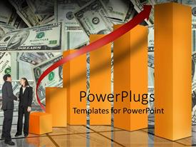 PowerPlugs: PowerPoint template with a growth table with dollar notes in the background