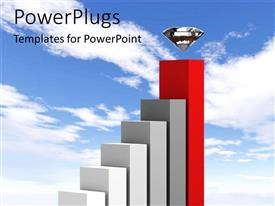 PowerPlugs: PowerPoint template with a growth table with sky in the background