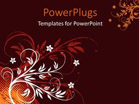 PowerPlugs: PowerPoint template with grunge floral background with orange halftone pattern