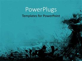 PowerPoint template displaying grunge textures background in blue and black