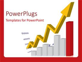 PowerPlugs: PowerPoint template with a grwoth arrow with a grwoth table and white background