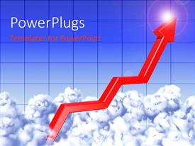 PowerPlugs: PowerPoint template with a grwoth arrow with a lot of clouds