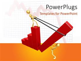 PowerPlugs: PowerPoint template with a grwoth graph with white background and place for text