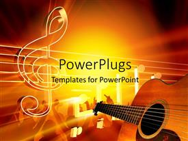 PowerPlugs: PowerPoint template with a guitar and a music sign with yellowish background
