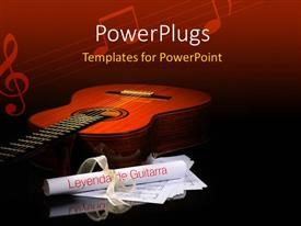 PowerPlugs: PowerPoint template with a guitar with a number of folded papers