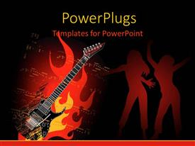 PowerPlugs: PowerPoint template with a guitar with a number of people dancing in background