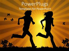 PowerPoint template displaying a guy and a girl running together