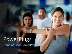 PowerPoint template displaying gym session with group of people exercising upper arm