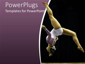 PowerPlugs: PowerPoint template with gymnast woman, athlete making a somersault on purple and black background