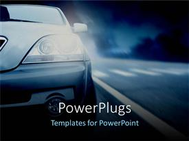 PowerPoint template displaying half of car with headlights on, nighttime highway driving