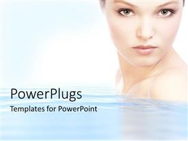 PowerPlugs: PowerPoint template with half portrait of a pretty lady on clear water
