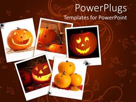 PowerPoint template displaying halloween collage with pumpkins, jack o lanterns, spiders, orange fall leaf background