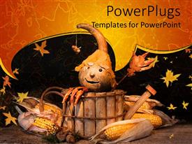 PowerPoint template displaying a Halloween costume with leaves in the background