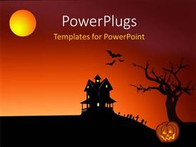 PowerPlugs: PowerPoint template with halloween depictions with haunted house bats, graveyard and pumpkin