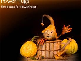 PowerPlugs: PowerPoint template with halloween figure in wooden basket next to old pumpkins