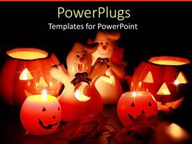 PowerPoint template displaying halloween jack o lantern and ghost decorations