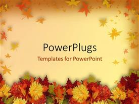 PowerPoint template displaying halloween and thanksgiving theme with colorful flowers