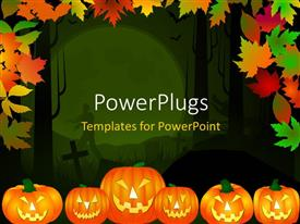 PowerPlugs: PowerPoint template with halloween theme background in multiple color leaves and pumpkins