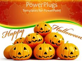 PowerPlugs: PowerPoint template with halloween theme with happy halloween message and halloween pumpkin faces