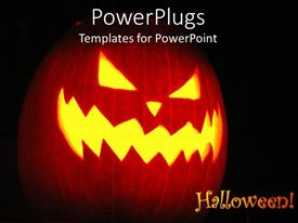 PowerPoint template displaying halloween theme with Jack-o-lantern, Halloween word and pumpkin with scary face