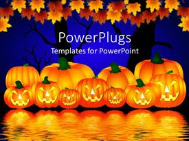 PowerPlugs: PowerPoint template with halloween theme with pumpkins reflecting in water and trees with rusty leaves