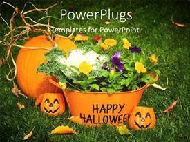PowerPlugs: PowerPoint template with halloween time with carved pumpkins and basket filled with flowers