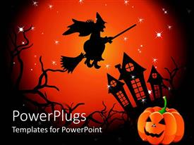 PowerPlugs: PowerPoint template with halloween witch flying over haunted house jack o lantern in corner