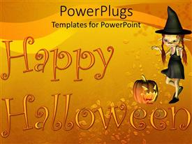 PowerPlugs: PowerPoint template with a Halloween witch with a text that spell out the word 'Happy Halloween'