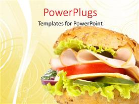 PowerPlugs: PowerPoint template with ham sandwich on white and orange background