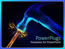 PowerPlugs: PowerPoint template with hammer striking burning nail with sparks of hit on dark background