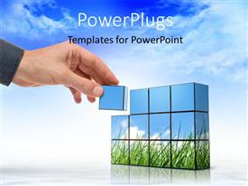 PowerPoint template displaying a hand arranging a group of blocks on a white background