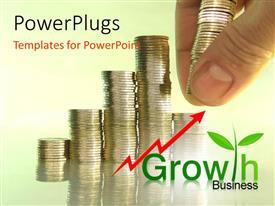 PowerPlugs: PowerPoint template with hand arranging pile of coins and growth chart with red arrow