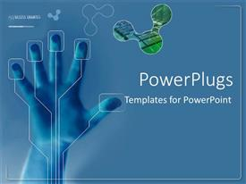 PowerPlugs: PowerPoint template with hand being scanned on security glass on blue background