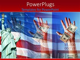 PowerPlugs: PowerPoint template with a hand with a bundle of dollar notes