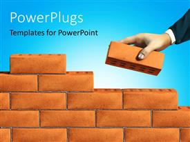 PowerPlugs: PowerPoint template with hand of business man adding brick to a wall