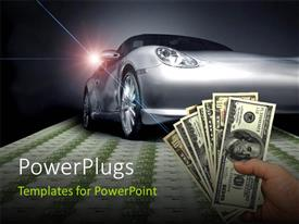 PowerPlugs: PowerPoint template with hand carrying american dollar in foreground and Sports car on a euro banknotes floor