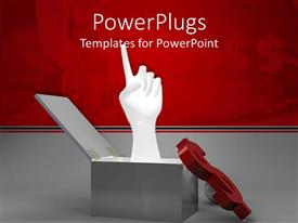 PowerPoint template displaying a hand coming out of the box showing the new ideas with dollar sign