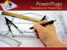 PowerPoint template displaying hand completing an architect design for a house blueprint with architect's tools on red background