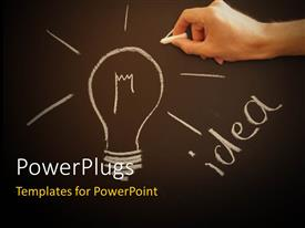 PowerPlugs: PowerPoint template with hand drawing Idea light bulb with chalk